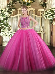Most Popular Hot Pink Scoop Neckline Beading Ball Gown Prom Dress Sleeveless Lace Up