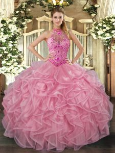 Super Baby Pink 15th Birthday Dress Sweet 16 and Quinceanera with Embroidery and Ruffles Halter Top Sleeveless Lace Up