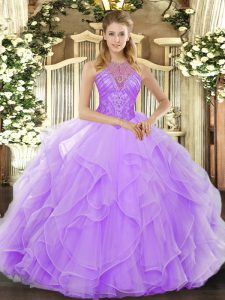 Hot Sale Lavender Ball Gowns High-neck Sleeveless Organza Floor Length Lace Up Beading and Ruffles Quinceanera Gowns