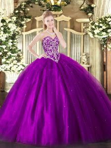 Perfect Floor Length Ball Gowns Sleeveless Eggplant Purple Sweet 16 Dresses Lace Up