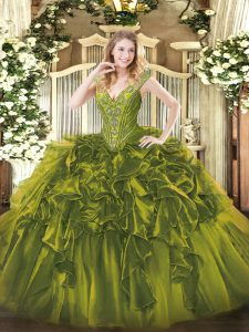 Floor Length Ball Gowns Sleeveless Olive Green Sweet 16 Quinceanera Dress Lace Up