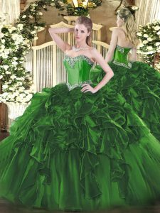 Glorious Dark Green Ball Gowns Sweetheart Sleeveless Organza Floor Length Lace Up Beading and Ruffles Sweet 16 Quinceanera Dress