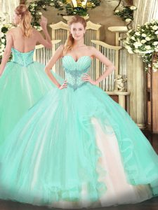 Custom Fit Tulle Sweetheart Sleeveless Lace Up Beading and Ruffles Quinceanera Dress in Apple Green