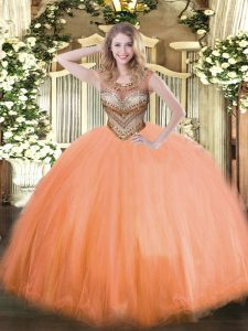Sleeveless Beading Lace Up 15 Quinceanera Dress