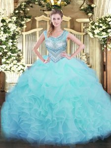 Sleeveless Lace Up Floor Length Beading and Ruffles and Pick Ups Sweet 16 Dress