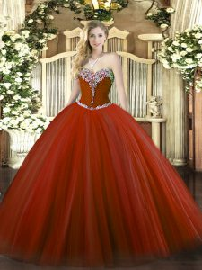 Rust Red Lace Up Sweetheart Beading Sweet 16 Dresses Tulle Sleeveless