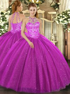 Halter Top Sleeveless Tulle Sweet 16 Dress Beading and Embroidery and Sequins Lace Up