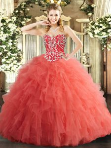 Watermelon Red Tulle Lace Up Sweetheart Sleeveless Floor Length Quinceanera Dresses Beading and Ruffles