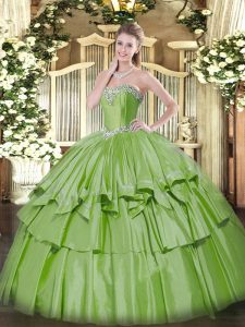 Artistic Sweetheart Sleeveless Quinceanera Dress Floor Length Beading and Ruffled Layers Yellow Green Organza and Taffeta
