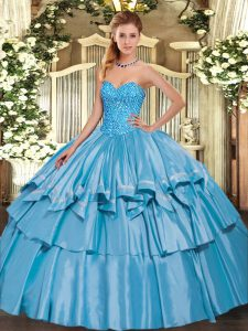 On Sale Baby Blue Lace Up Sweetheart Beading and Ruffled Layers Quince Ball Gowns Organza and Taffeta Sleeveless