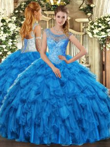 High Quality Floor Length Ball Gowns Sleeveless Baby Blue Quinceanera Gown Lace Up