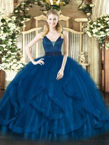 Floor Length Royal Blue Quinceanera Dresses Straps Sleeveless Zipper