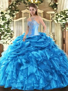 Sexy Baby Blue Lace Up Sweetheart Beading and Ruffles and Pick Ups Quinceanera Dresses Organza Sleeveless