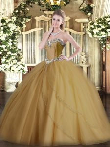 Champagne Ball Gowns Sweetheart Sleeveless Tulle Brush Train Lace Up Beading Quinceanera Gown