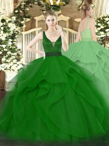 Dark Green Tulle Zipper Sweet 16 Dresses Sleeveless Floor Length Beading and Ruffles