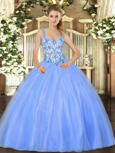 Ideal Straps Sleeveless Organza Vestidos de Quinceanera Beading and Appliques Lace Up