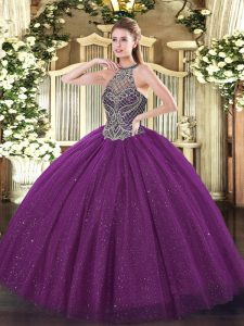 Deluxe Halter Top Sleeveless Tulle Quinceanera Gowns Beading Lace Up