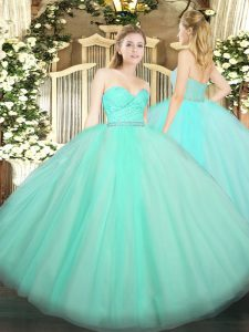 Best Ball Gowns 15th Birthday Dress Apple Green Sweetheart Tulle Sleeveless Floor Length Zipper