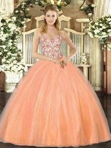 Orange Organza Lace Up Straps Sleeveless Floor Length Quinceanera Gowns Beading and Appliques