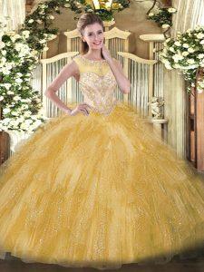Gold Ball Gowns Beading and Ruffles Ball Gown Prom Dress Zipper Organza Sleeveless Floor Length