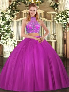Sleeveless Tulle Floor Length Criss Cross 15th Birthday Dress in Fuchsia with Beading