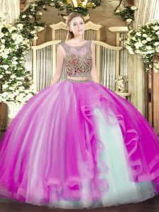 Lovely Floor Length Two Pieces Sleeveless Fuchsia 15th Birthday Dress Lace Up
