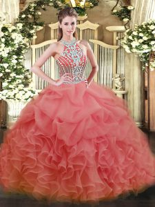 Floor Length Ball Gowns Sleeveless Watermelon Red Vestidos de Quinceanera Lace Up