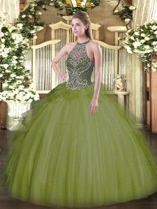 Spectacular Olive Green Tulle Lace Up Quinceanera Gown Sleeveless Floor Length Beading
