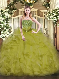 Latest Olive Green Sleeveless Floor Length Beading and Ruffles Lace Up Sweet 16 Dress