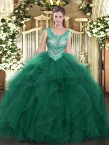 Designer Dark Green Tulle Lace Up Scoop Sleeveless Floor Length Quinceanera Dresses Beading and Ruffles