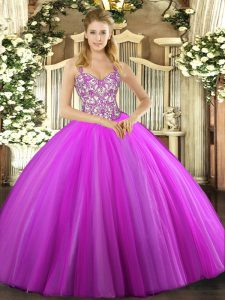 Floor Length Ball Gowns Sleeveless Lilac 15 Quinceanera Dress Lace Up