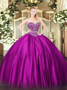 Fuchsia Ball Gowns Satin Sweetheart Sleeveless Beading Floor Length Lace Up Quinceanera Gown
