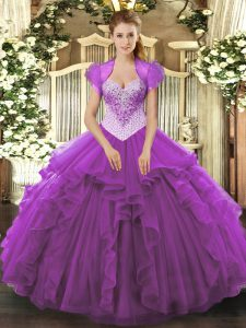 Nice Floor Length Eggplant Purple Quinceanera Dress Sweetheart Sleeveless Lace Up
