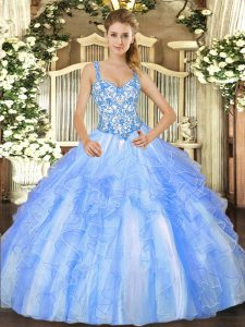 Straps Sleeveless Organza Quinceanera Dresses Beading and Ruffles Lace Up