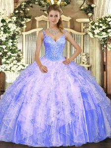 Most Popular Lavender Lace Up V-neck Beading and Ruffles Quinceanera Gowns Tulle Sleeveless