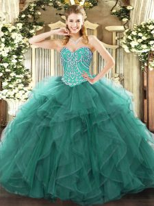Sweetheart Sleeveless Lace Up Quinceanera Gowns Turquoise Tulle