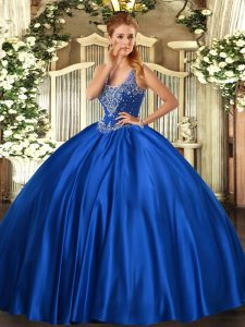 Romantic Royal Blue Quinceanera Gowns Military Ball and Sweet 16 and Quinceanera with Beading Straps Sleeveless Lace Up