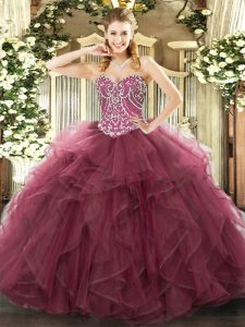 Smart Floor Length Ball Gowns Sleeveless Burgundy Sweet 16 Dresses Lace Up