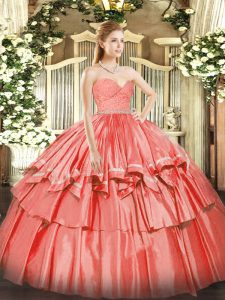 Artistic Floor Length Watermelon Red Sweet 16 Dress Organza Sleeveless Beading and Lace and Ruffled Layers