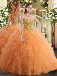 Flirting Orange Sleeveless Tulle Lace Up Quince Ball Gowns for Military Ball and Sweet 16 and Quinceanera