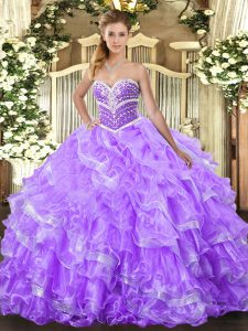 Sumptuous Floor Length Lace Up Quinceanera Dresses Lavender for Military Ball and Sweet 16 and Quinceanera with Ruffled Layers