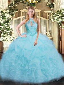 Floor Length Aqua Blue Vestidos de Quinceanera Organza Sleeveless Beading and Ruffles