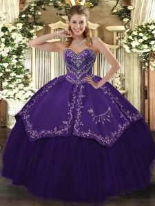Noble Purple Sleeveless Taffeta and Tulle Lace Up Quinceanera Gown for Prom and Military Ball and Sweet 16 and Quinceanera