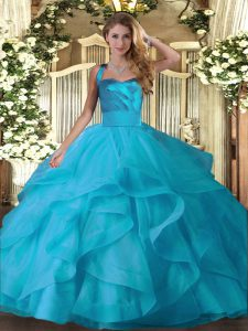 Dazzling Floor Length Lace Up Quinceanera Dresses Baby Blue for Military Ball and Sweet 16 and Quinceanera with Ruffles