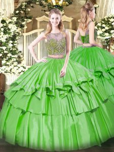 Glorious Sleeveless Floor Length Beading and Ruffled Layers Lace Up Sweet 16 Quinceanera Dress with