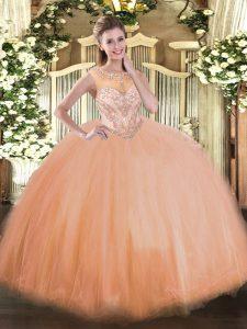Tulle Sleeveless Floor Length Vestidos de Quinceanera and Beading