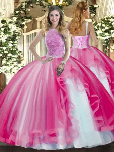 Modest Ball Gowns 15 Quinceanera Dress Hot Pink High-neck Tulle Sleeveless Floor Length Lace Up