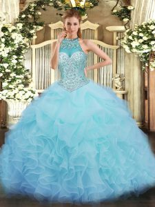 Enchanting Organza Sleeveless Floor Length Quince Ball Gowns and Beading and Ruffles and Pick Ups