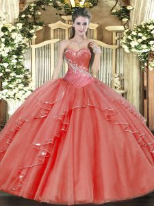 Fantastic Sweetheart Sleeveless Lace Up Quinceanera Dresses Coral Red Tulle
