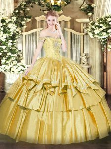 Best Selling Floor Length Ball Gowns Sleeveless Gold Quinceanera Gowns Lace Up